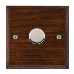 Hamilton Woods Chamfered Antique Mahogany 1 Gang 2 way 200VA Dimmer with Bright Chrome Insert