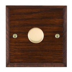 Hamilton Woods Chamfered Antique Mahogany 1 Gang 2 way 300VA Dimmer with Polished Brass Insert