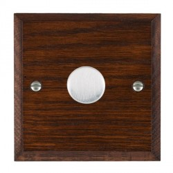 Hamilton Woods Chamfered Antique Mahogany 1 Gang 2 way 300VA Dimmer with Satin Chrome Insert