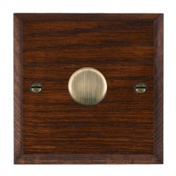 Hamilton Woods Chamfered Antique Mahogany 1 Gang 2 way 600W Dimmer with Antique Brass Insert