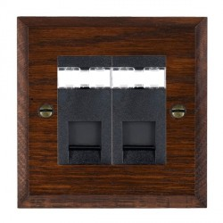 Hamilton Woods Chamfered Antique Mahogany 2 Gang RJ45 Cat 5E Unshielded Outlet with Black Insert