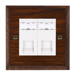 Hamilton Woods Chamfered Antique Mahogany 2 Gang RJ45 Cat 5E Unshielded Outlet with White Insert
