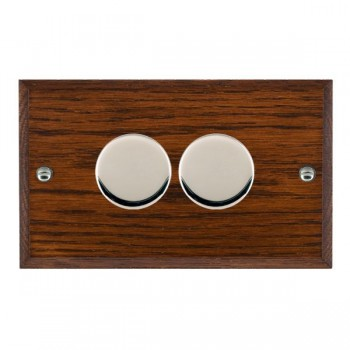 Hamilton Woods Chamfered Antique Mahogany 2 Gang 2 way 400W Dimmer with Bright Chrome Insert