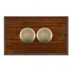 Hamilton Woods Chamfered Antique Mahogany 2 Gang 2 way 400W Dimmer with Antique Brass Insert