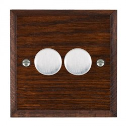 Hamilton Woods Chamfered Antique Mahogany 2 Gang Multi-way 250W/VA Dimmer with Satin Chrome Insert