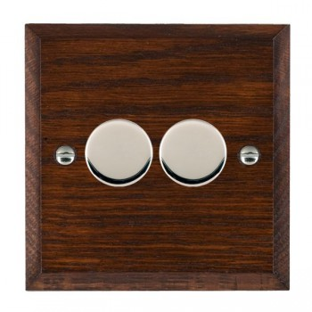 Hamilton Woods Chamfered Antique Mahogany 2 Gang Multi-way 250W/VA Dimmer with Bright Chrome Insert