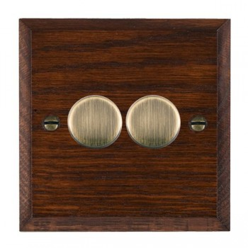 Hamilton Woods Chamfered Antique Mahogany 2 Gang Multi-way 250W/VA Dimmer with Antique Brass Insert