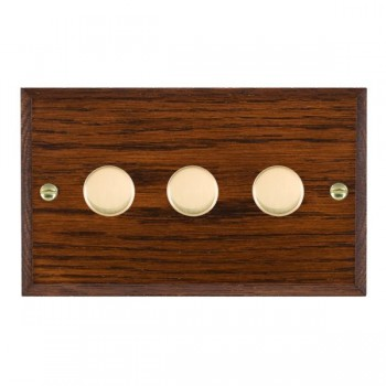 Hamilton Woods Chamfered Antique Mahogany 3 Gang 2 way 400W Dimmer with Polished Brass Insert