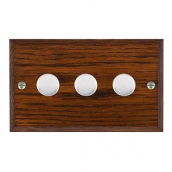 Hamilton Woods Chamfered Antique Mahogany 3 Gang 2 way 400W Dimmer with Satin Chrome Insert