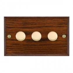 Hamilton Woods Chamfered Antique Mahogany 3 Gang Multi-way 250W/VA Dimmer with Polished Brass Insert