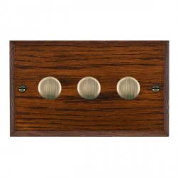 Hamilton Woods Chamfered Antique Mahogany 3 Gang Multi-way 250W/VA Dimmer with Antique Brass Insert