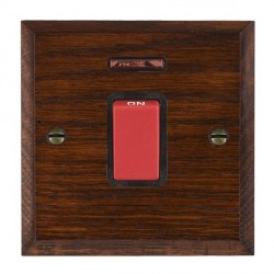 Hamilton Woods Chamfered Antique Mahogany 1 Gang 45A Double Pole Red + Neon Rocker with Black Insert