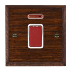 Hamilton Woods Chamfered Antique Mahogany 1 Gang 45A Double Pole Red + Neon Rocker with White Insert