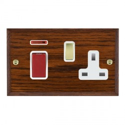Hamilton Woods Chamfered Antique Mahogany 1 Gang 45A Double Pole Red + Neon + 1 Gang 13A Switched Socket ...