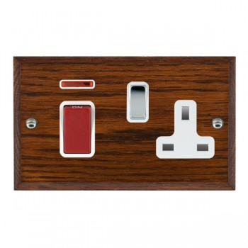 Hamilton Woods Chamfered Antique Mahogany 1 Gang 45A Double Pole Red + Neon + 1 Gang 13A Switched Socket with White Insert