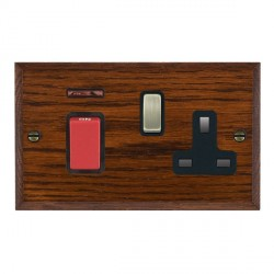 Hamilton Woods Chamfered Antique Mahogany 1 Gang 45A Double Pole Red + Neon + 1 Gang 13A Switched Socket with Black Insert