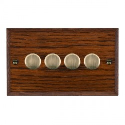 Hamilton Woods Chamfered Antique Mahogany 4 Gang Multi-way 250W/VA Dimmer with Antique Brass Insert