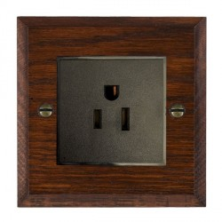 Hamilton Woods Chamfered Antique Mahogany 1 Gang 15A 127V American Unswitched Socket with Black Insert