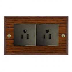 Hamilton Woods Chamfered Antique Mahogany 2 Gang 15A 127V American Unswitched Socket with Black Insert