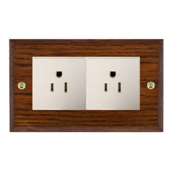 Hamilton Woods Chamfered Antique Mahogany 2 Gang 15A 127V American Unswitched Socket with White Insert