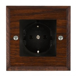 Hamilton Woods Chamfered Antique Mahogany 1 Gang 10/16A German Unswitched Socket with Black Insert