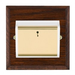 Hamilton Woods Chamfered Antique Mahogany 1 Gang On/Off 10A Hotel Card Switch with White Insert