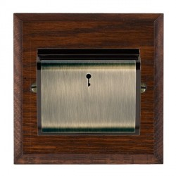 Hamilton Woods Chamfered Antique Mahogany 1 Gang On/Off 10A Hotel Card Switch with Black Insert