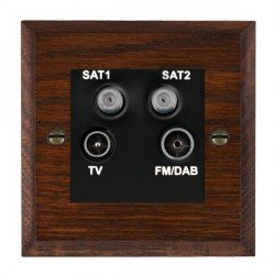 Hamilton Woods Chamfered Antique Mahogany 1 Gang TV + 1 Gang Satellite + 1 Gang Satellite + 1 Gang FM Outlet with Black Insert