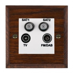 Hamilton Woods Chamfered Antique Mahogany 1 Gang TV + 1 Gang Satellite + 1 Gang Satellite + 1 Gang FM Outlet with White Insert
