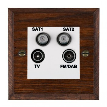 Hamilton Woods Chamfered Antique Mahogany 1 Gang TV + 1 Gang Satellite + 1 Gang Satellite + 1 Gang FM Outlet with White Insert