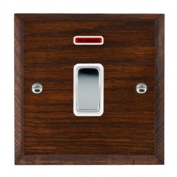 Hamilton Woods Chamfered Antique Mahogany 1 Gang 20AX Double Pole + Neon Rocker with White Insert