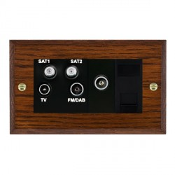 Hamilton Woods Chamfered Antique Mahogany 1 Gang TV, 2 x 1 Gang Satellite, 1 Gang FM, 1 Gang TV Slave, 1 Gang TV (Female) Outlet with Black Insert