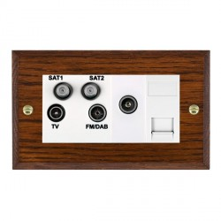 Hamilton Woods Chamfered Antique Mahogany 1 Gang TV, 2 x 1 Gang Satellite, 1 Gang FM, 1 Gang TV Slave, 1 ...