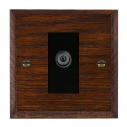 Hamilton Woods Chamfered Antique Mahogany 1 Gang Digital Satellite 'F' Type Outlet with Black Insert