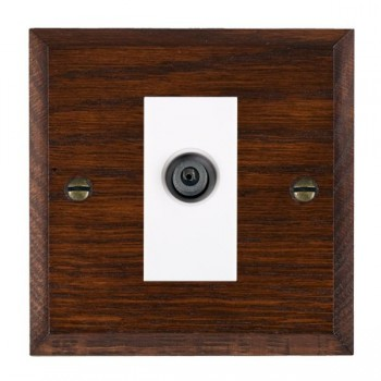 Hamilton Woods Chamfered Antique Mahogany 1 Gang Digital Satellite 'F' Type Outlet with White Insert