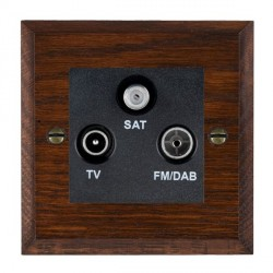 Hamilton Woods Chamfered Antique Mahogany 1 Gang TV + 1 Gang FM + 1 Gang Satellite Outlet with Black Insert
