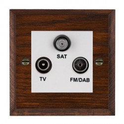 Hamilton Woods Chamfered Antique Mahogany 1 Gang TV + 1 Gang FM + 1 Gang Satellite Outlet with White Inse...