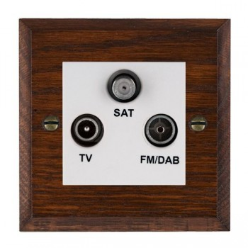 Hamilton Woods Chamfered Antique Mahogany 1 Gang TV + 1 Gang FM + 1 Gang Satellite Outlet with White Insert