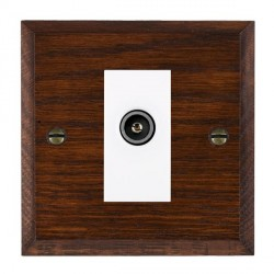 Hamilton Woods Chamfered Antique Mahogany 1 Gang TV (Female) Outlet with White Insert