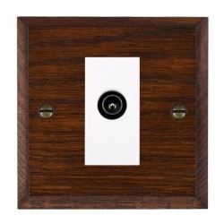 Hamilton Woods Chamfered Antique Mahogany 1 Gang TV (Male) Outlet with White Insert