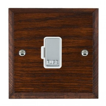 Hamilton Woods Chamfered Antique Mahogany 1 Gang 13A Fuse Only with White Insert