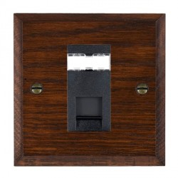Hamilton Woods Chamfered Antique Mahogany 1 Gang RJ45 Cat 5E Unshielded Outlet with Black Insert