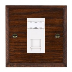 Hamilton Woods Chamfered Antique Mahogany 1 Gang RJ45 Cat 5E Unshielded Outlet with White Insert