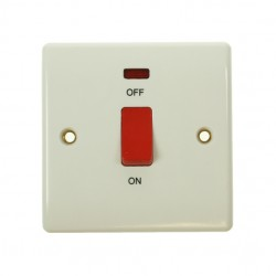 BG Nexus White PVC 45amp Switch with Neon