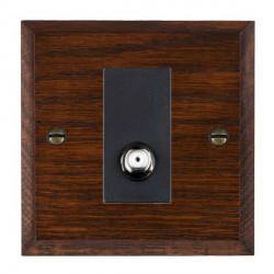 Hamilton Woods Chamfered Antique Mahogany 1 Gang Non Isolated Satellite Outlet with Black Insert