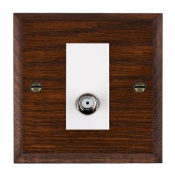 Hamilton Woods Chamfered Antique Mahogany 1 Gang Isolated Satellite Outlet with White Insert