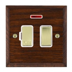 Hamilton Woods Chamfered Antique Mahogany 1 Gang 13A Fused Spur, Double Pole + Neon with White Insert