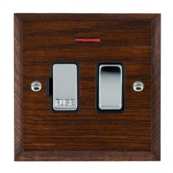 Hamilton Woods Chamfered Antique Mahogany 1 Gang 13A Fused Spur, Double Pole + Neon with Black Insert