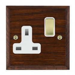 Hamilton Woods Chamfered Antique Mahogany 1 Gang 13A Switched Socket with White Insert