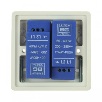 BG Nexus White PVC 2 Gang Dimmer Switch